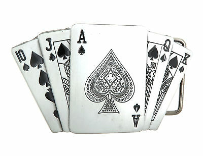 Royal Flush Spades Poker Casino Lighter Holder Belt Buckle