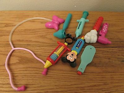MICKEY MINNIE MOUSE Medical Doctor's Nurse's Kit Play Set DISNEY GUC 8PCS