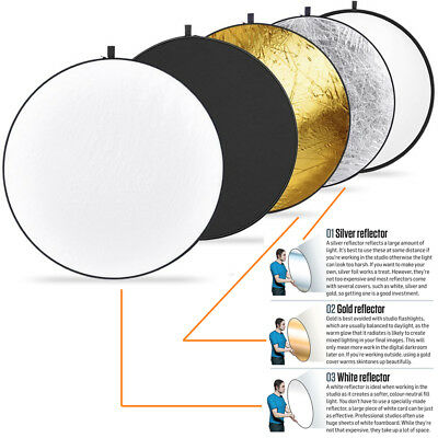 32 inch 80cm 5-in-1 Collapsible Studio Light Photography Reflector with Bag