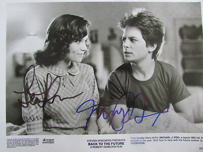 Back To The Future Cast Signed-Michael J Fox & Lea Thompson-Coa