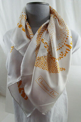 """Christian Dior Vintage 30"""" Square Silk Scarf White and Gold"""