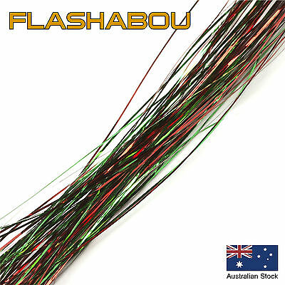 Green/Red  Flashabou 0.5mm - Tinsel, Fly Tying Materials, Jig Assist