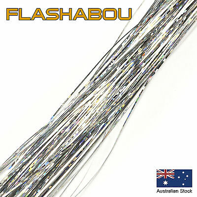 Silver Holographic Flashabou 0.5mm - Tinsel, Fly Tying Materials, Jig Assist
