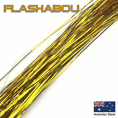Gold Flashabou 0.5mm - Tinsel, Fly Tying Materials, Snapper, Jig Assist