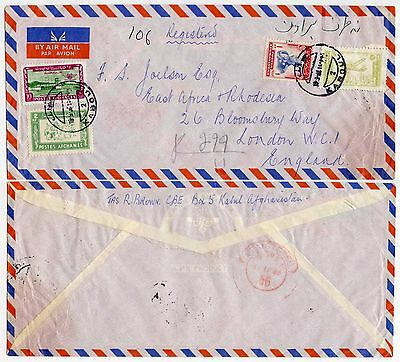 AFGHANISTAN AIRMAIL to GB 1956 MULTI FRANKING REGISTERED