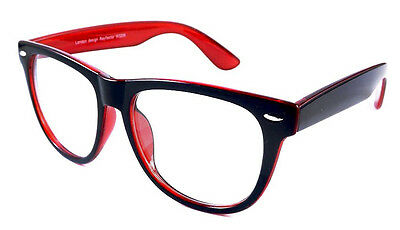 Classic Big Large Black Red Geek Nerd Clear Lens Glasses Retro 80's Unisex