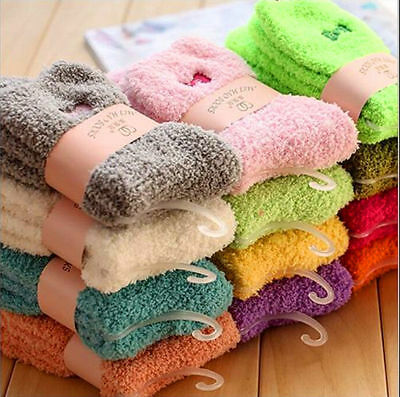 3/6/12  Ladies Women Girls Soft Fluffy Socks Warm Winter Cosy Lounge Bed Socks