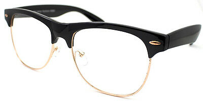 Classic 1980's Black Gold Frame Clear Lens Glasses Semi Horn Rimmed Men Women's
