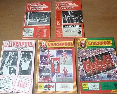 5x Liverpool - European Cup Semi-Final Home Programmes, 1977-85.