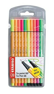 10 x STABILO NEON STIFTE 5 x PEN 68 FASERSTIFT 5 x POINT 88 FINELINER TOP SET !!