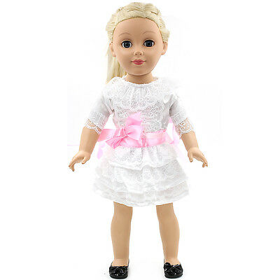 Handmade new White Lace clothes dress for 18 inch American girl doll party
