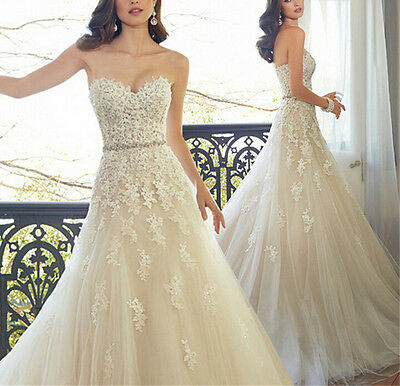 New Lace Sweetheart White/ivory Wedding Dress Bridal Gown 4/6/8/10/12/14/16/18+