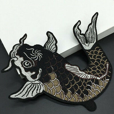 1x Big Fish Embroidered Iron On / Sew On Patches Badge Bag Fabric Applique Craft