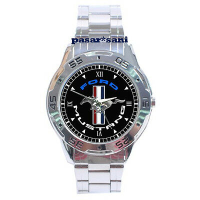 NEW FORD MUSTANG RUNNING PONY Custom Chrome Men Wrist Watch Watches