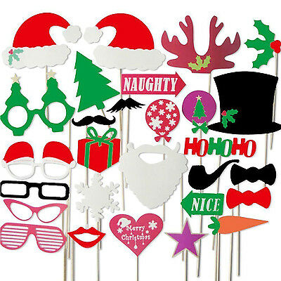 Colourful Photo Booth Party Props On Sticks DIY for 'Christmas, Xmas'