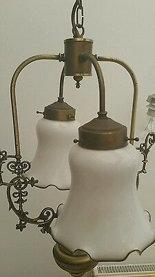 Vintage 2 Arm Brass Chandelier Light Fitting & White Glass Shades - FREE UK P&P