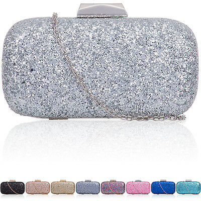 Women Glitter-Embellished Box Clutch Baguette Ladies Hard Compact Evening Bags