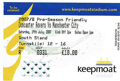 Ticket - Doncaster Rovers v Manchester City 14.07.07 Pre-Season Friendly