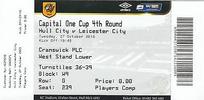 Ticket - Hull City v Leicester City 27.10.15 League Cup