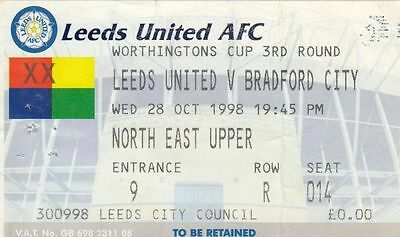 Ticket - Leeds United v Bradford City 28.10.98 League Cup
