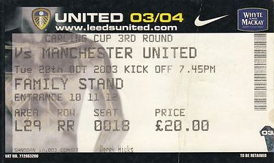 Ticket - Leeds United v Manchester United 28.10.03 League Cup