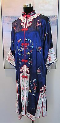 Asian Kimono Jacket/Tunic Top Navy Blue Embroidered Sz M Smithsonian Institution