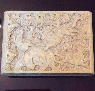 Antique Art Beautifully Hand Carved Unique Soapstone Case