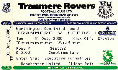Ticket - Tranmere Rovers v Leeds United 31.10.00 League Cup