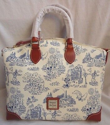 NWT Disney Dooney & And Bourke Blue Toile Print Zip Satchel Hobo Bag Purse 7