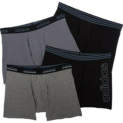 3 Pack Men's Adidas Climalite PERFORMANCE Boxer Briefs Black LARGE 36-38 $30