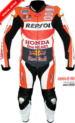 REPSOL MOTOR GP Marc Marquez 2016 Motorbike Cowhide Leather Suit all sizes honda