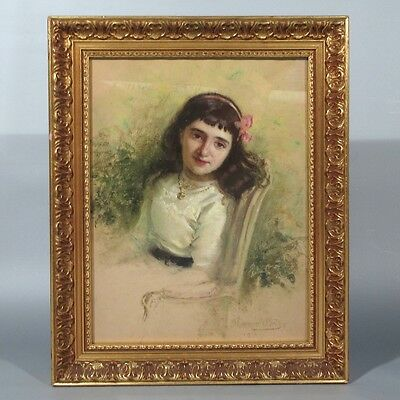 Hervé-Mathé (1868-1953), Antique French Pastel, Portrait, Girl, Paris Salon 1912