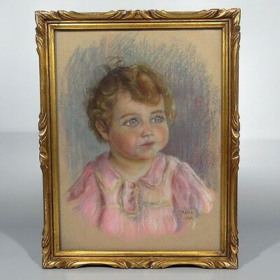 "Vintage French Pastel, Portrait of a Child, Baby, Girl, Signed ""P. Natier"", 1942"