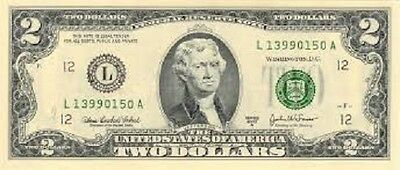 Usa $2 Dollar Bill Banknote United States Of America Jefferson