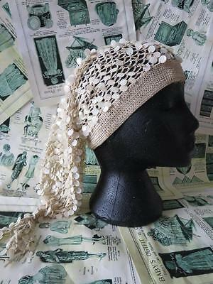 Antique 1920's Flappers Hand Crochet & Faux Mother of Pearl 'Bonwit Teller' Hat