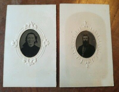 Antique 1800's Ambrotypes with Matting, Hand colored Pictures, Man and woman