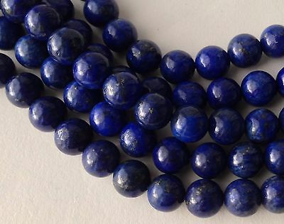 LOT 20 PERLES LAPIZ LAZULI NATUREL BLEU DORE PIERRE FINE RONDE 6mm