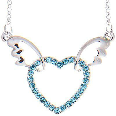 16'' Rhodium Plated Necklace w/ Winged Heart Design & Blue Crystals by Matashi