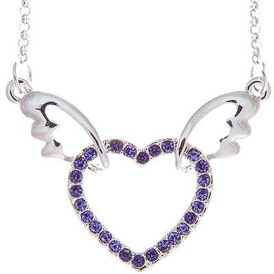 16'' Rhodium Plated Necklace w/ Winged Heart & Purple Crystals by Matashi