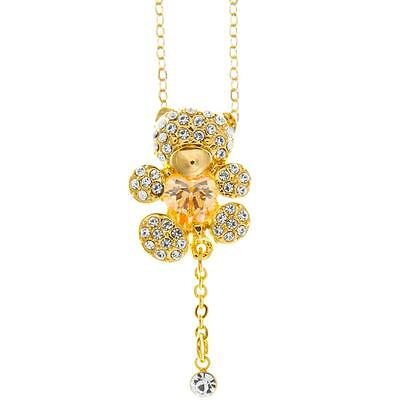 16'' Champagne Gold Plated Necklace w/ Teddy Bear & Gold Tint Crystals by Matash