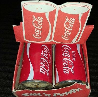 Rare vintage un-used set Coca-Cola metal salt & pepper shakers in box