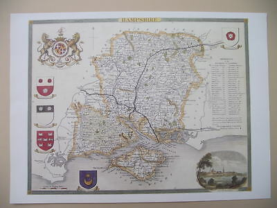 Hampshire Repro 1830 Thomas Moule map County Maps of Old England Gift