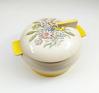 Triumph American Limoges Seering Ohio Oslo-t Yellow Bowl with Floral Lid