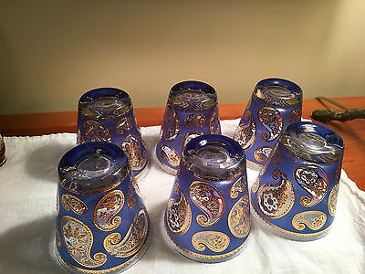 Culver HTF Blue and Gold Paisley Glasses Set of 6