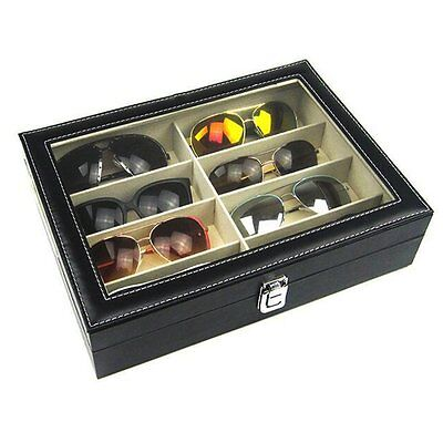 8 grid high-grade leather sunglasses glasses storage box