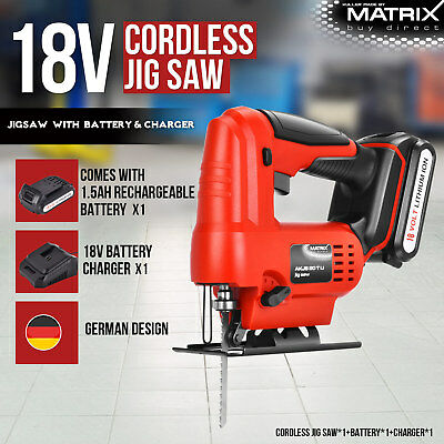 Matrix 18V Cordless Jigsaw Power Tool 1.5Ah Lithium Rechargeable Battery Charger