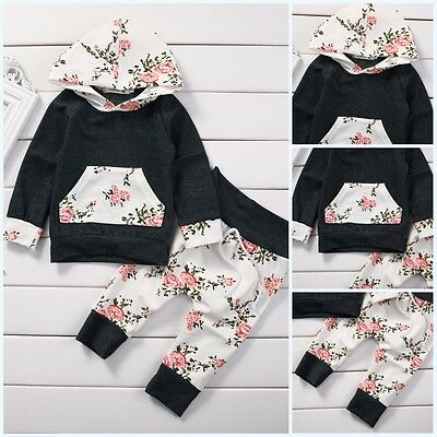 2pcs Newborn Baby Boy Girl Long Sleeve Hooded Tops Floral Pants Clothes Outfit