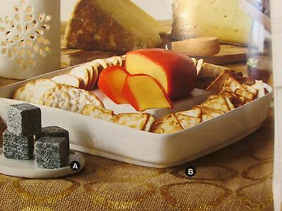"""AVON Cheese and Cracker Plate, Off White 9"""" Square  Ceramic   NEW IN BOX"""