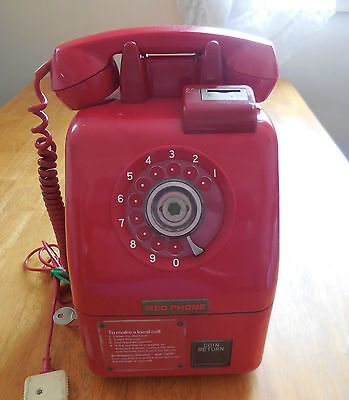 RED PHONE Rare & Vintage 20c Pay Phone Antique man cave display item