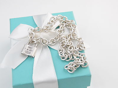 Authentic Tiffany & Co 1837 Padlock Necklace Packaging Box Pouch Ribbon